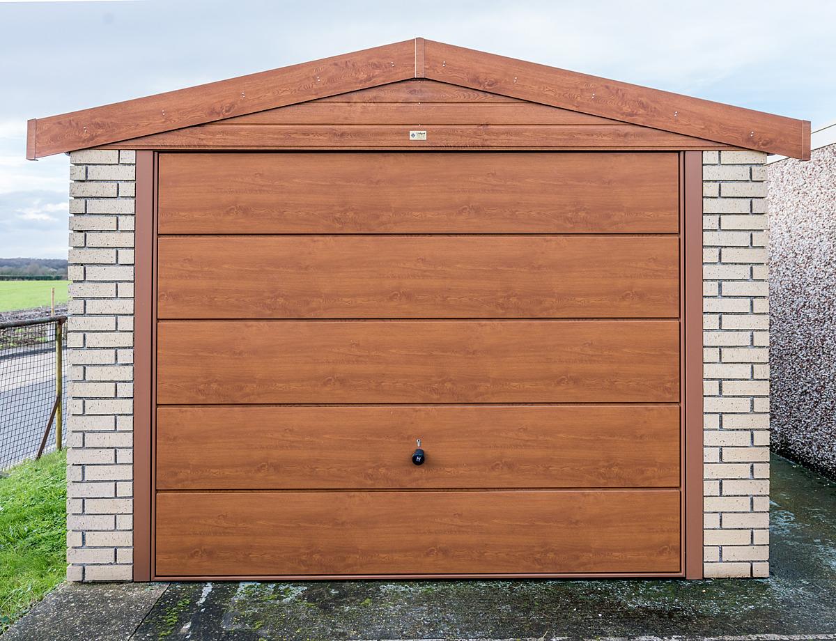Up and over garage door - Golden Oak Steel Up And Over Garage Door Plus Fascia